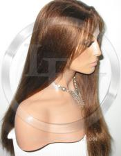 Yaki Straight Silk Top Lace Wig 18 Inch Color 4 - Medium Brown