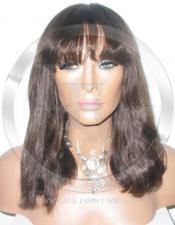 Short Full Lace Front Wig with Bangs Color 4 - 12 Inch
