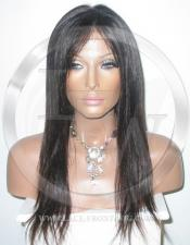 Straight Full Lace Human Hair Lace Front Wig Color 1b - 16 Inch