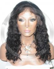 Deepwave Human Hair Full Lace Wig Color 1b - 14 Inch