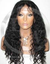 Wavy Full Lace Front Human Hair Wig Color Black - 16 Inch