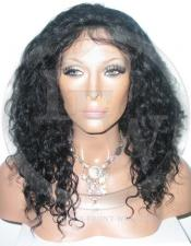 Curly Full Lace Front Human Hair Wig Color Black - 14 Inch