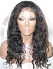 Wavy Full Lace Front Human Hair Wig Color 1b 33 - 16 Inch