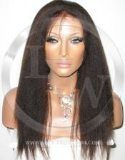 Yaki Full Lace Front Wig Human Hair Color 1b - 16 Inch
