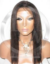African American Yaki Full Lace Wig Color Brown - 12 Inch