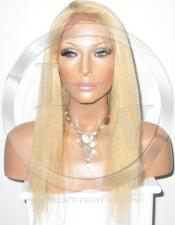 Yaki Straight Full Lace Wig Human Hair Color 27 Blonde - 16 Inch