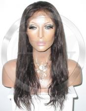 Natural Straight Full Lace Wig Color Dark Brown - 16 Inch