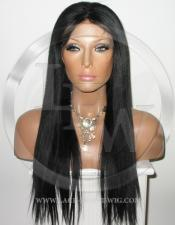 Yaki Straight Full Lace Wig Human Hair Color 1  Black - 18 Inch
