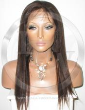 Silky Straight Lace Front Wig Human Hair 18 Inch Color 2