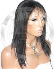 Yaki Straight Lace Front Wig Human Hair 12 Inch Color 1