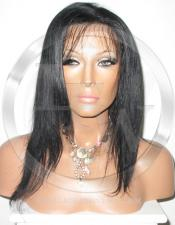 Silky Straight Lace Front Wig Human Hair 8 Inch Color 1