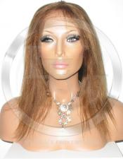 Yaki Straight Full Lace Front Wig Color 4 27 - 10 Inch